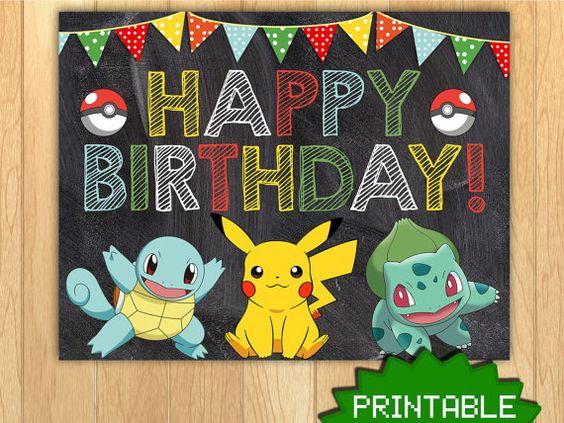 PRINTABLE Pokemon Pikachu Custom Birthday by NoteworthyCreative – Printable Pokemon Birthday Cards