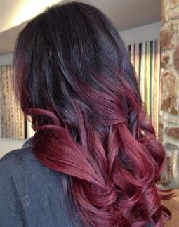 Red Ombre Hair, my next color with side sweep bangs
