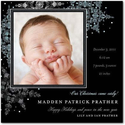 Winter Boy Birth Announcements Cherished Crystals : Boy - Front : Black