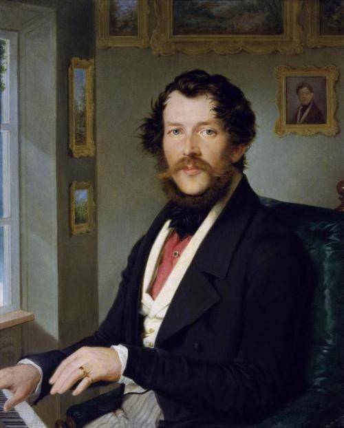 1844 Friedrich Johann Gottlieb Lieder - Portrait of a gentleman in front of the piano