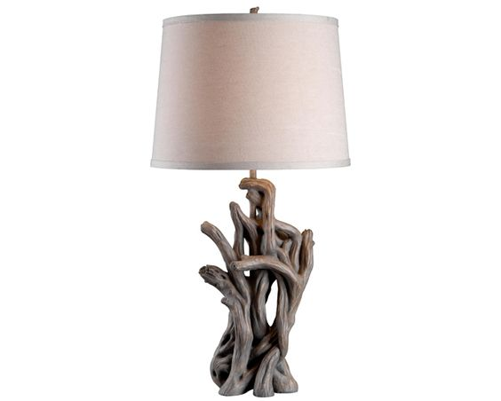 Cast Away Table Lamp - The look of petrified driftwood has an organic sculptural quality and a random beauty only nature can create. #interior #nautical #design