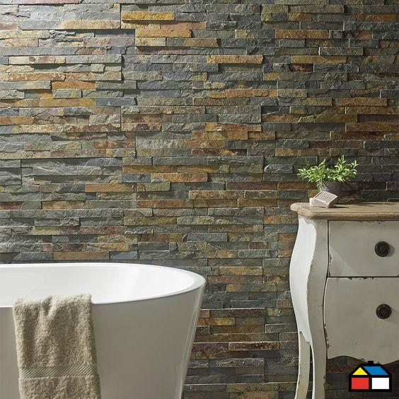 piedra mosaico oxidada sodimac homecenter muros