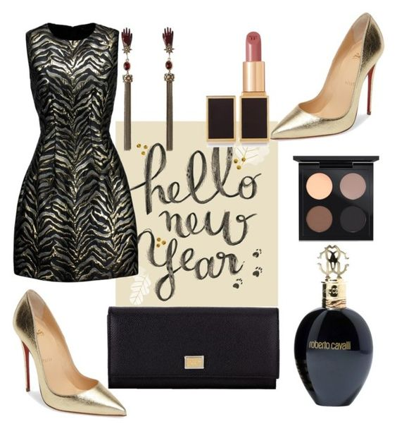 """2017."" by anicagrbesa ❤ liked on Polyvore featuring Roberto Cavalli, Christian Louboutin, Dolce&Gabbana, MAC Cosmetics and Tom Ford"