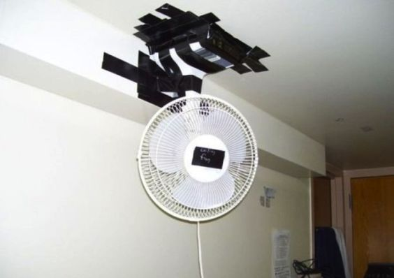 DIY Ceiling Fan: All you need is a ceiling, a fan, some tape and voila! #fail #ceilingfan