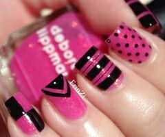 Cool black hot pink dots stripes squares and triangle nail designs
