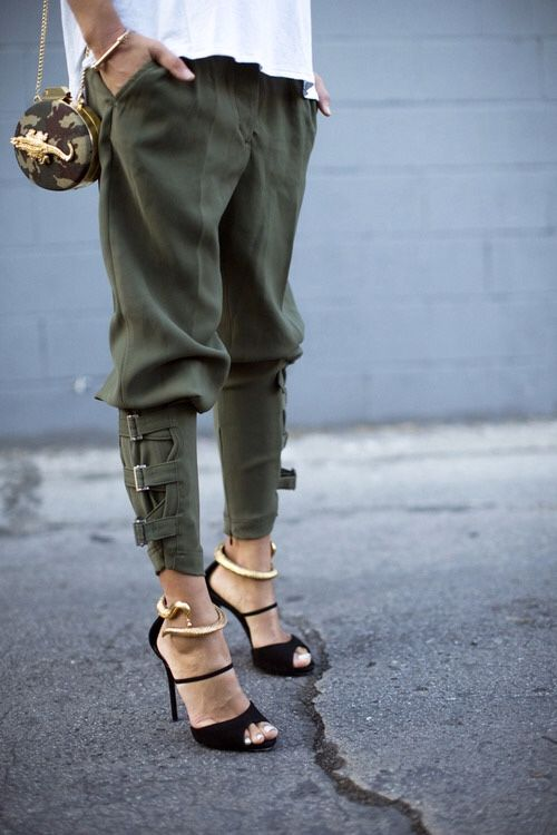 military style jogger pants and killer black heels make for a sporty and dressy outfit