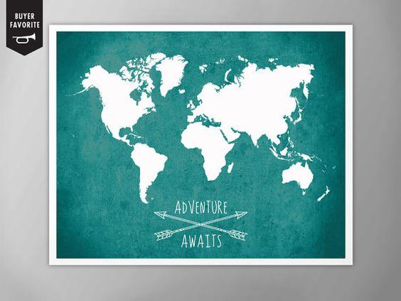 Monde carte affiche, aventure attend monde carte Poster, carte du monde, Home Decor, monde carte murale Art, monde carte affiche Decor, carte du monde géante