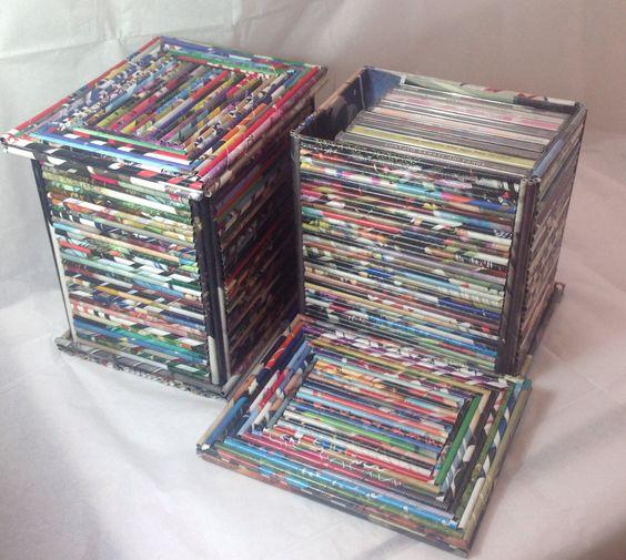 Cajas multiuso decoradas con rollitos de papel de revistas for Objetos rusticos para decoracion