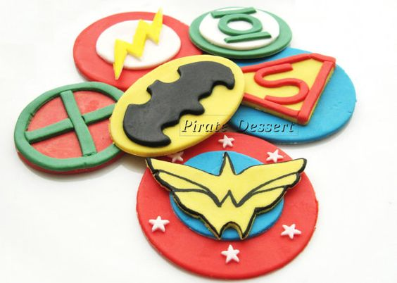 Justice League Edible SUPERHERO Cupcake Toppers by PirateDessert, $16.00