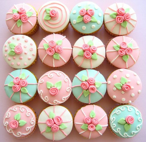 refreshing for Spring, new baby, little girl's birthday party...for Easter, roses could be substituted for mini eggs with additional pastel icing colors...