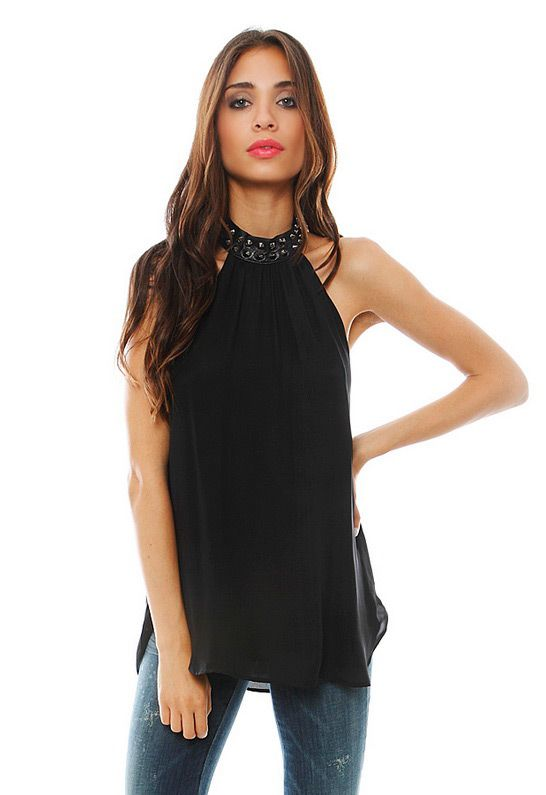 Halter Blouse with Studded Collar in Black - designed by Haute Hippie Review Buy Now