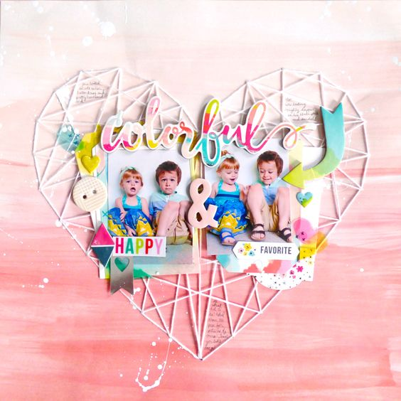 Colorful & Happy Layout using Heart String Template from Fancy Free Pink Paislee