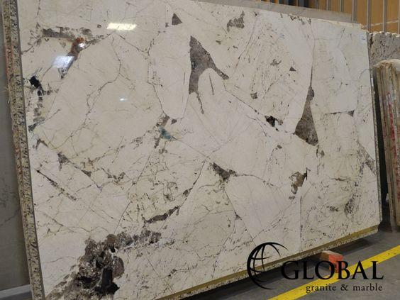 White Pegasus polished granite slab. Visit globalgranite.com for your natural stone needs.