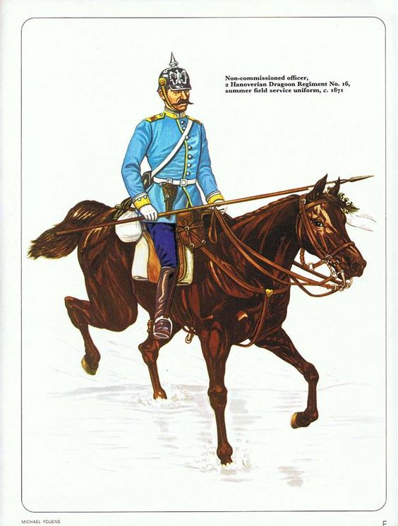 Non-commissioned officer,2 Hanoverian Dragoon Regiment No.16,summer field service uniform,c.1871