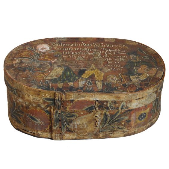Early German Painted Box | From a unique collection of antique and modern boxes at http://www.1stdibs.com/furniture/more-furniture-collectibles/boxes/