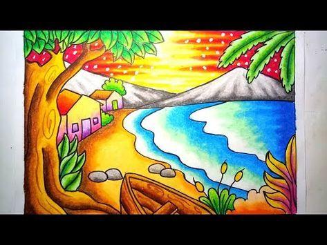 Mewarnai Gradasi Dengan Crayon Oilpastel Pemandangan Indah Pantai Drawing Beach Scenery Youtube Seni Pastel Gambar Flora Dan Fauna Cara Menggambar