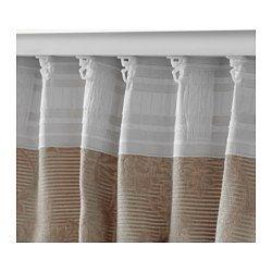 IKEA - BLEKVIVA, 2 Gardinen + Raffhalter, , Blickdichte Gardinen aus dicht gewebtem Stoff schirmen Licht effektiv ab und verhindern Einblick von außen.Die Jacquardwebart verleiht der Gardine eine besondere Struktur mit reliefartigem Muster.Für Gardinenstange oder -schiene geeignet.Mit Gardinenband; lässt sich kombiniert mit RIKTIG Haken einfach in effektvolle Falten legen.