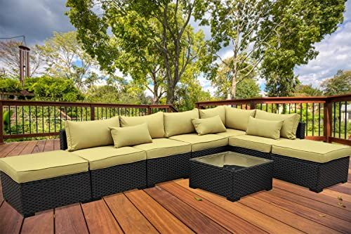 Amazing Offer On Valita Patio Pe Wicker Furniture Set 8 Pieces Outdoor Black Rattan Sectional Conversation Sofa Chair Olive Green Cushions Online Pptoplike In 2020 Outdoor Porch Furniture Black Patio Furniture Green Cushions