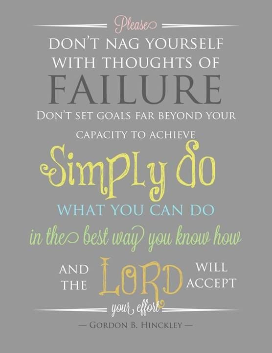 Please don't nag yourself with thoughts of failure.  Don't set goals far beyond your capacity to achieve.  Simply do what you can do, in the best way you know how, and the Lord will accept your efforts. ~ Pres. Gordon B. Hinckley