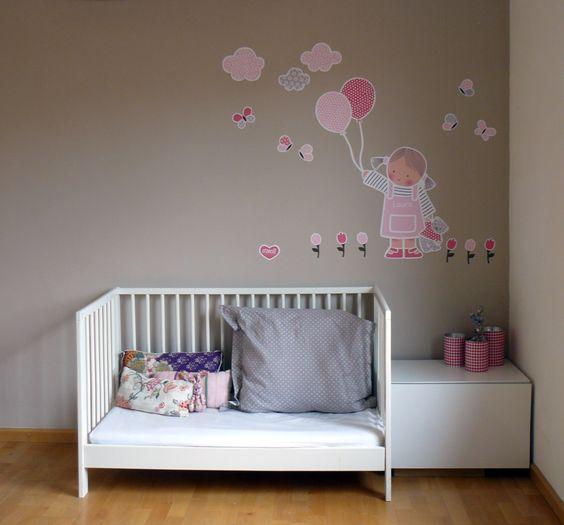 Vinilo infantil ni a con globos es de stencil for Vinilos infantiles nina