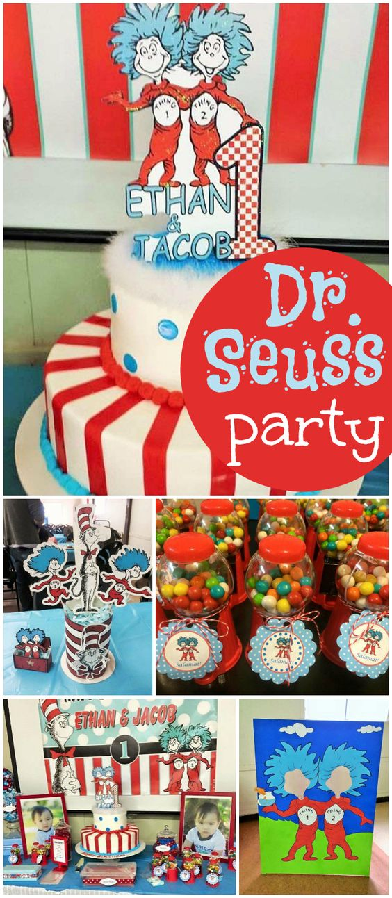 Thing 1 and Thing 2! The perfect party for twin boys! See more party ideas at CatchMyParty.com!