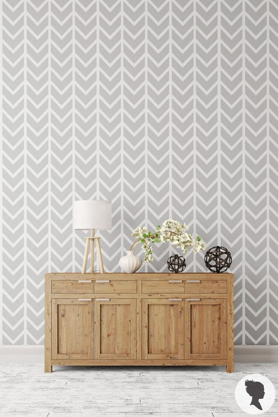 Self Adhesive Chevron Pattern Removable Wallpaper M0002