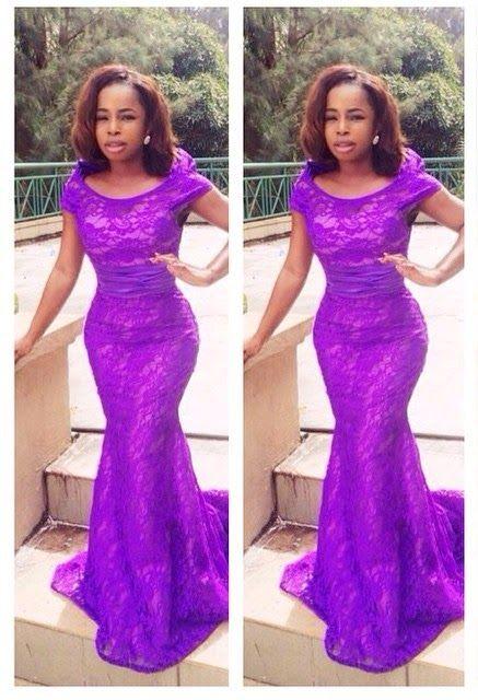 Dark Blue Aso-ebi style velvet long dress for Nigerian wedding ...