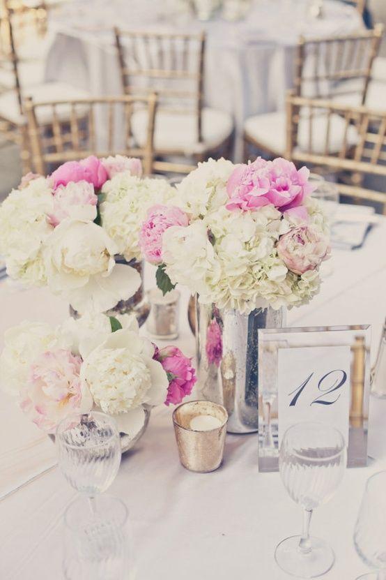 Mercury Glass Centerpiece with brighter flowers, blue hydrangea, bright pink stock, pink roses, zinnia, delphinium, etc.