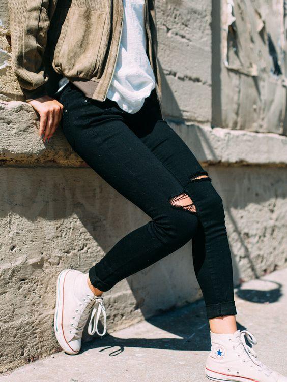 Women's Black Ankle Skinny Jeans from Irene