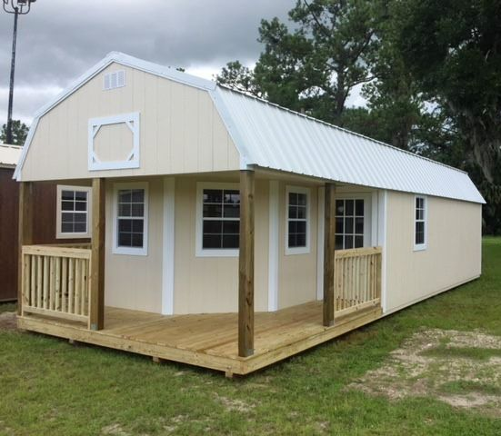 Deluxe Lofted Barn Cabin 14x36 By Coastal Portable Buildings Shown In Almond With White Trim And White Shed To Tiny House Portable Buildings Lofted Barn Cabin