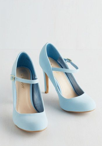 It's sure to be love at first step when you buckle into these pastel blue Mary Jane heels. Elegant, fun, and flirty, these vegan faux-leather stilettos take your strut to new haute heights!: