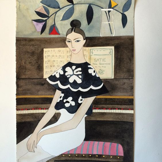 """""""At the piano in Dior #dior #diorss16 #piano #watercolor #fashionillustration @dior"""""""