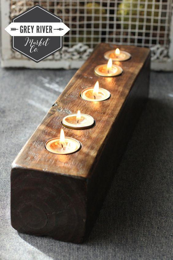 wooden candle holder reclaimed wood long wooden tea light holder for 5 candles dark walnut. Black Bedroom Furniture Sets. Home Design Ideas