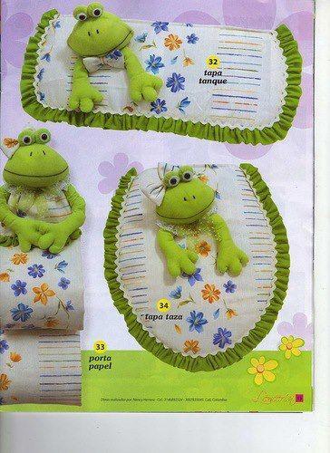 Set De Baño A Crochet Patrones:JUEGO BAÑO RANAS PATRONES EN LENCERIA DE COCINA