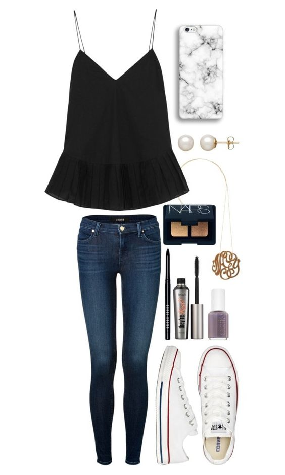 """Friday niiiiight"" by hbcernuto ❤ liked on Polyvore featuring Ginette NY, J Brand, J.Crew, Converse, Honora, Benefit, Bobbi Brown Cosmetics, NARS Cosmetics and Essie:"