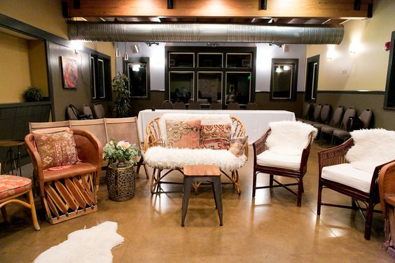 Bohemian Event Lounge with Mexican and Wicker Chairs and Sheepskin