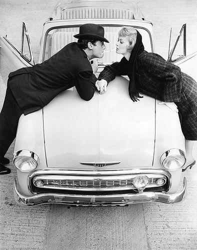 Couple Over Car Bonnet, photo by Norman Parkinson 1957