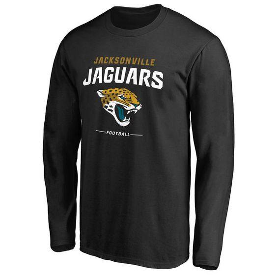 Men's Jacksonville Jaguars Pro Line Team Lockup Long Sleeve Black T-Shirt…
