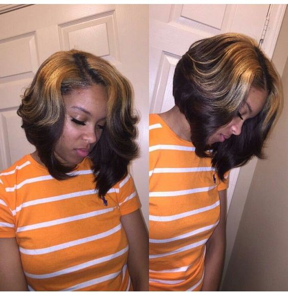 Black Bob with Caramel Highlights