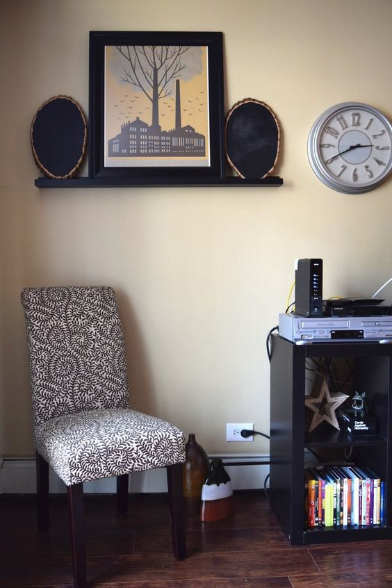 Tree stump chalkboards - Ashley & Emily's First Chicago Apartment