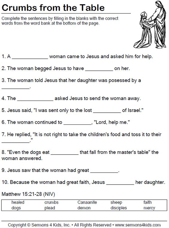 faith of the canaanite woman worksheet children fill in the blanks as teacher tells the. Black Bedroom Furniture Sets. Home Design Ideas