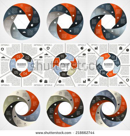 Vector circle infographic. Template for diagram, graph, presentation and chart. Business concept with 6, 7, 8, options, parts, steps or processes. Abstract background. - stock vector