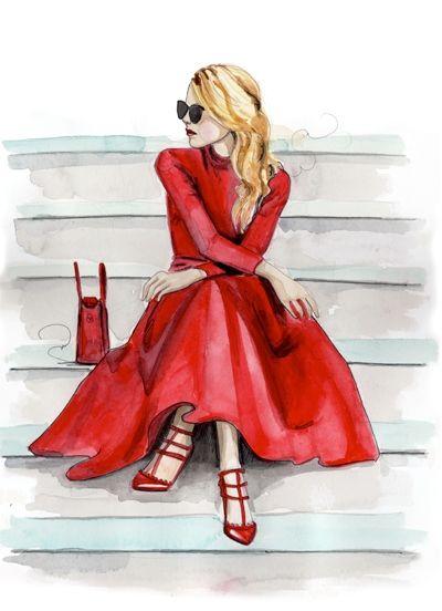 imagen chica rubia vestida de rojo