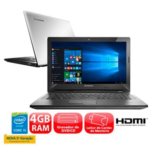 """De: R$ 2.392,60 Por:R$ 2.098,60 ou até 12x de R$ 174,88 sem juros Notebook Lenovo G40-80 com Intel® Core™ i5-5200U, 4GB, 1TB, Gravador de DVD, Leitor de Cartões, HDMI, Wireless, Bluetooth, Webcam, LED 14"""", Windows 10"""