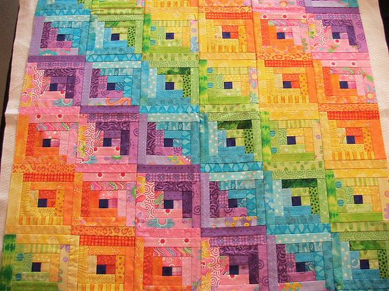 Rainbow log cabin #quilt in straight furrow setting: Quilting Sewing, Quilts Quilting, Quilting Log, Quilts Logcabin, Log Cabin Quilts, Rainbow Quilting, Quilts Rainbow