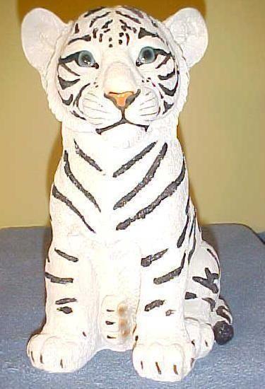 White TIGER CUB Statue Figurine Jungle Wildlife Exotic African Animal Decor