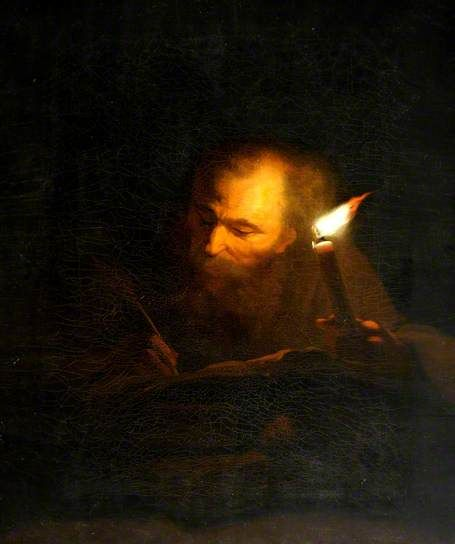 An Old Man Writing a Book by Candlelight by Godfried Schalcken: