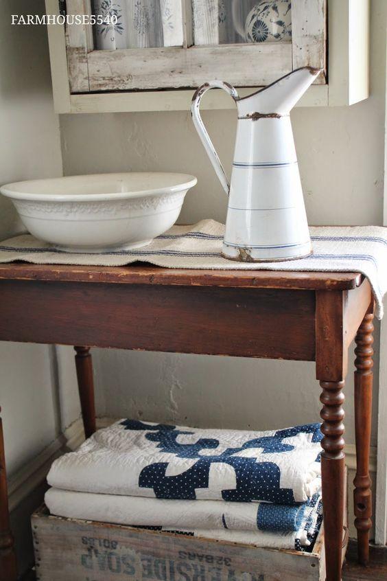 white blue pitcher, grain sack runner, quilts