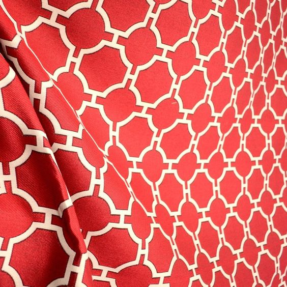 Swavelle Kinder Cherry Red Cream Oriental Trellis Upholstery Fabric