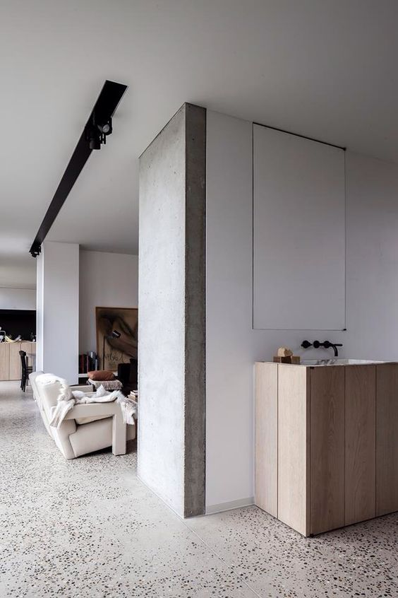 Baño Blanco Suelo Madera:Polished Concrete Floor